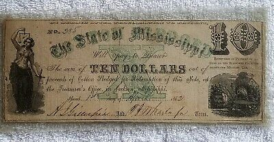 1862 $10 State Of Mississippi Cotton Pledged Csa Beautiful Color