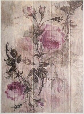 Rice Paper for Decoupage, Scrapbook Sheet, Painted roses on board
