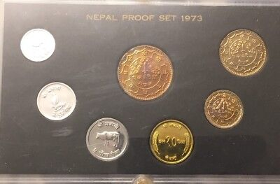 1973 Nepal Proof Coin Set toned Coins  1973 Nepal
