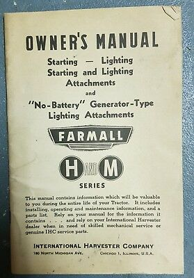 Vintage Owner's Manual Farmall Special Attachments H and M Series, Old
