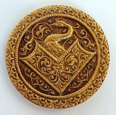 ORNATE ANTIQUE VICTORIAN GILT BRASS BUTTON w/ALL-OVER SCROLL DESIGN & SWAN