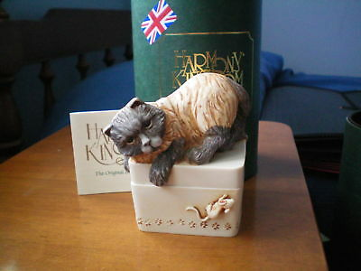 Harmony Kingdom Mousetrap Cat UK Made Marble Resin Box Figurine