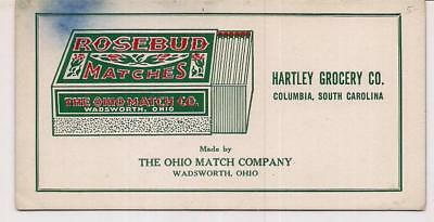 Rosebud Matches Ohio Match Co Hartley Grocery COLUMBIA SC Vintage Ad Ink Blotter