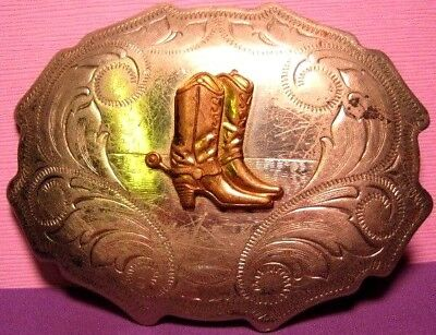Vintage JUSTIN Boot Co BUCKAROO COWBOY BOOTS BELT BUCKLE Solid Nickel Silver