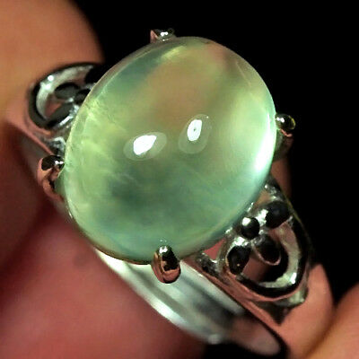 17.8CT 100% Natural 18K Gold Plated Green Prehnite Cab Ring UDPG181