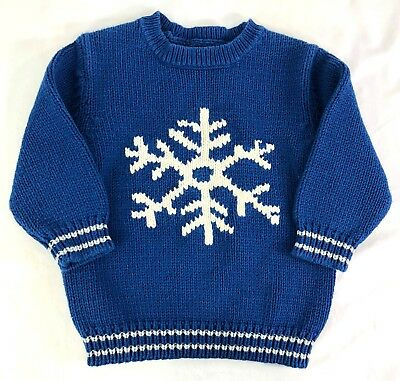 Baby GAP Sz Toddler 2 Yrs Blue Snowflake Pull Over Sweater T60