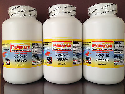 CoQ-10 q-10 Q10 100mg co-enzyme, cardio aid. Made in USA ~ 900 (3x300) capsules