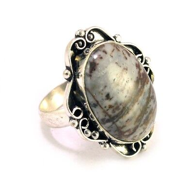 Natural Gray Agate Gemstone Silver Plated Designer Size US 9 Ring KJR263
