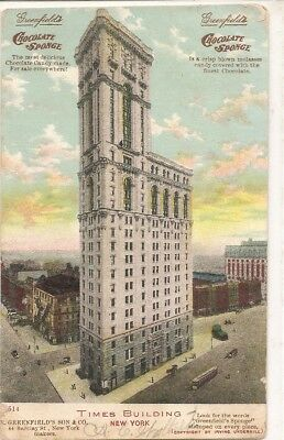 1907 postcard Times Bldg in NY, ALSO advertising Greenfield's Chocolate Sponge