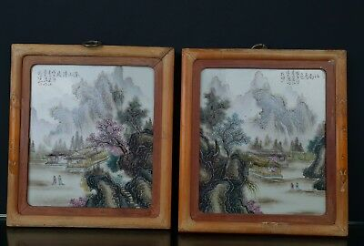 Wonderful Antiques Pair Of Chinese Porcelain Tablets Or Panels