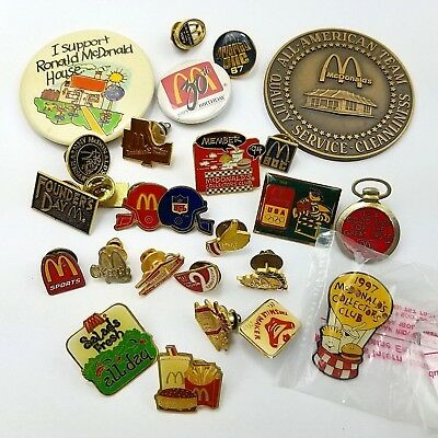 25 Diff McDonald's Collectible Lot Lapel Hat Pin Back Button Medal Award Vtg 058