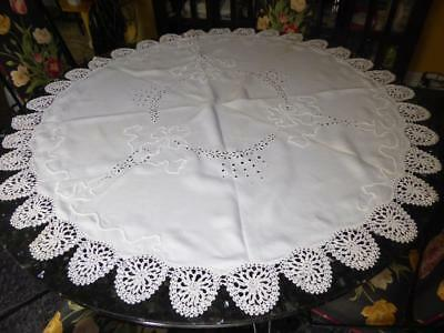 "Antique Whitework Embroidery Broderie Anglaise 50"" Round Linen Tablecloth Topper"