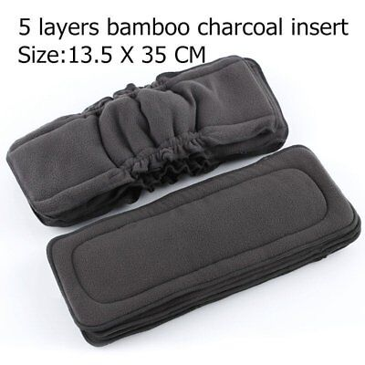 5 Layers Baby Liners Nappy Reusable Washable Reuse Diapers Cloth Bamboo Charcoal
