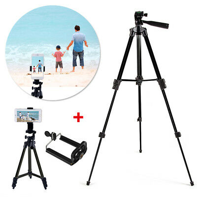Portable Professional Adjustable Camera Tripod Stand Mount+Cell Phone Holder Bla
