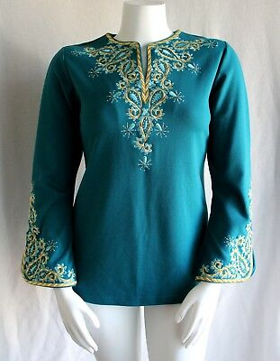 d667c78849a Bob Mackie Gorgeous Teal Embroidered Bell Sleeve Peasant Tunic M (10 12) ~