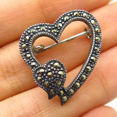 Pins, Brooches Vintage Marsala 925 Sterling Silver Real Marcasite Gem Heart Design Pin Brooch
