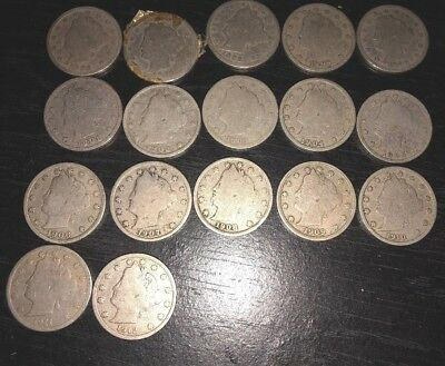"""Lot of 17 Liberty Head """"V"""" Nickels 1896 - 1912 Key Dates In order See Pics"""