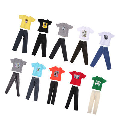 10 Sets Casual Suits Clothes Tops Pants For Barbie Boy Friend Ken Dolls