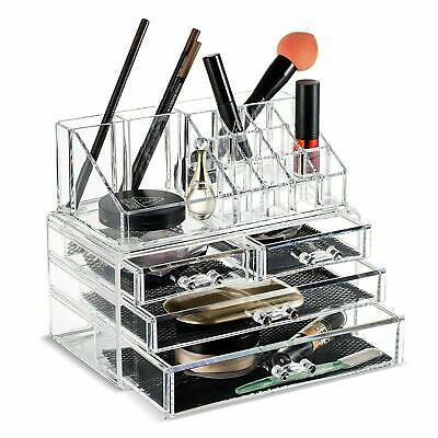 Large 6 Tier Clear Acrylic Cosmetic Makeup Storage Cube Organizer w/ 7 Drawers