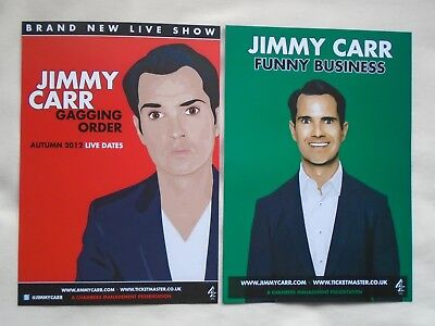 JIMMY CARR Live Gagging Order 2012 Funny Business 2014 UK Tours Promo flyers x 2