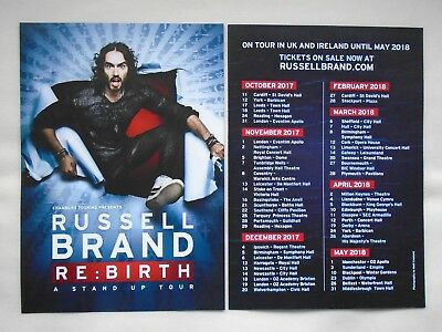 RUSSELL BRAND Live event RE:Birth UK & Ireland 2017/18 Tour Promo tour flyers