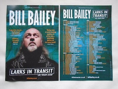 """BILL BAILEY Live event """"Larks in Transit"""" 2018 UK Tour promotional flyers x 2"""