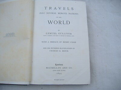 """GULLIVER """"TRAVELS INTO SEVERAL REMOTE NATIONS OF THE WORLD"""" London 1894 illustr."""