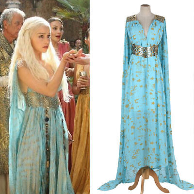Mother of Dragons Game of Thrones Daenerys Targaryen Costume Long Cosplay Dress