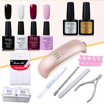 4pcs Gel Nail Polish + UV Lamp + Base Top Coat + Manicure Tools Set HNM AU STOCK