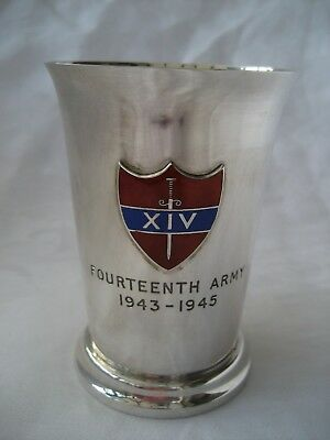 Fourteenth Army 1943- 1945 Solid Silver Commemorative Beaker.