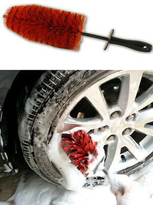 """Large 18"""" Alloy Wheel Cleaning Brush Detailing Valeting Non Scratch Daytona Red"""