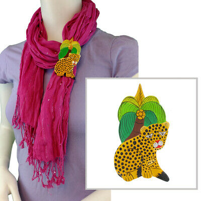 Scarf Ring Clip T Shirt Tie Wooden Cheetah Jungle Handmade Painted 80s Vintage