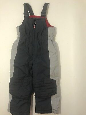 Toddler Boys Gray Ski Bibs Snow Pants Size 2T Insulated Winter Wear Slope