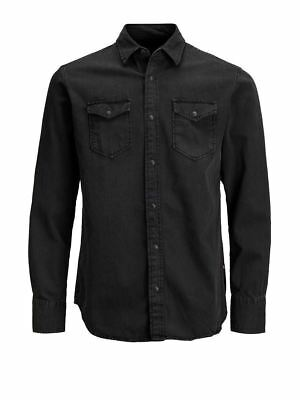 Jack&Jones Mens Must Have Long Sleeved Casual Denim Shirt Black (12138115)