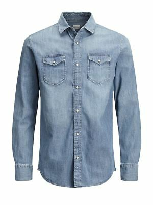 Jack&Jones Mens Must Have Long Sleeved Shirt Casual Denim Blue (12138115)