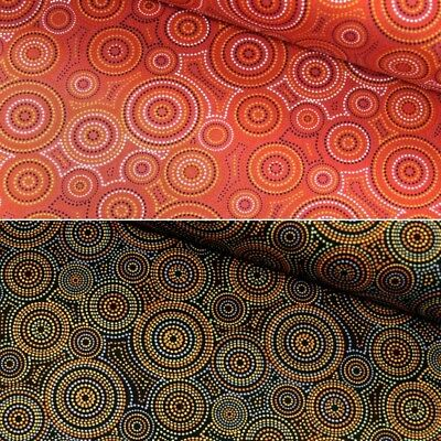 100% Cotton Patchwork Fabric Nutex Geometric Dots Concentric Circles Malkamalka