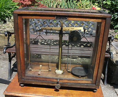 Griffin & George chemical balance scales in glass case