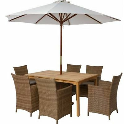Outdoor Patio Garden Wooden Solid Teak Rectangle 4 or 6 Seater Dining Table