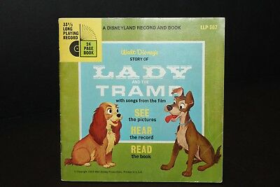 """Walt Disney Presents LADY & THE TRAMP Vintage Book and Record 7"""" 33 LLP 307"""