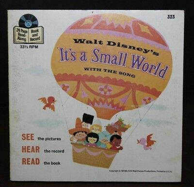 """Walt Disney Presents IT'S A SMALL WORLD Vintage Book and Record 7"""" 33 323"""