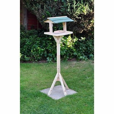 Traditional Wooden Bird Table Freestanding Garden Roof House Feeding Station