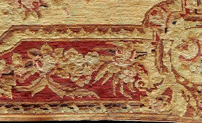French antique hand made needlepoint RUG Aubusson style roses central medallion