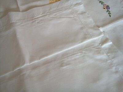 Vintage Irish Linen Pair Oxford Pillow Cases Covered Button Backs