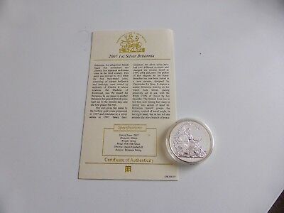 Elizabeth II, Britannia One Ounce Fine Silver Two Pounds 2007 Mint C.O.A Capsule