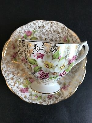 Florals on Gold Chintz Design Queen Anne Tea Cup and Saucer Set