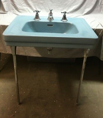 Vtg Mid Century Ceramic Blue Bath Sink Chrome Brass Legs Standard 267-18E