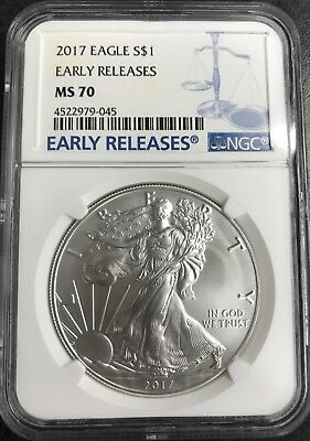 2017 American Silver Eagle $1 early release MS 70 NGC #4522979-045 C-1297