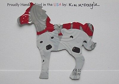 Horse Christmas Ornament Handmade Recycled Aluminum Diet Cola Polar Bear Pop Can