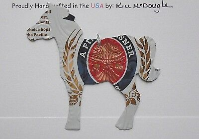 Horse Christmas Tree Ornament Handmade Recycled Aluminum Metal M Lite Beer Can