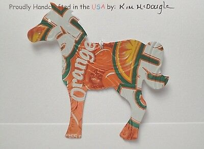 Horse Christmas Ornament Handmade Recycled Aluminum Metal Orange Soda Pop Can